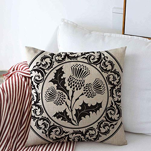 Pillow Case Graphic Scottish Thistle Flower Round Leaf Style Abstract Botanical British Celtic Circular Decorative Farmhouse Throw Pillowcase Covers 18'x18' for Fall Decorations