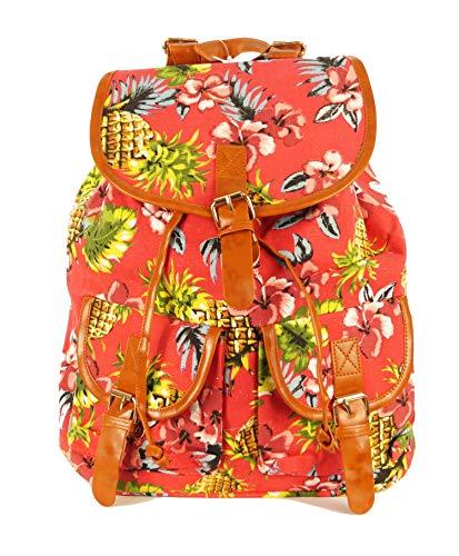 Jay-Fashionbox Damen Rucksack Blumenmuster Bunt klein Cityrucksack Rucksack mit Motiv Stadtrucksack Backpack Citybackpack mit Blumen Muster Damen Schultertasche Umhangtasche Handtasche Mehrfarbig