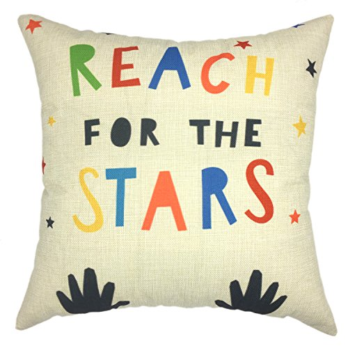 YOUR SMILE Phrase Square Decorative Throw Pillows Case Cushion Covers Shell Cotton Linen Blend (18''x18'', Color #8)