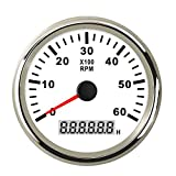 85mm Marine Tachometer Gauge Waterproof 6000 RPM Tacho Meter for Car Truck Boat RPM Gauge with LCD Digital Hour Meter Red Backlight 12V/24V