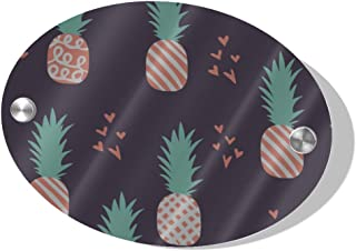 QYUESHANG 5.5x7.5 Inch MDF Porch Decorations Outdoor Door Knocker Sign Fashion Cute Pineapple Fruit Love Oval Name Plaque for Wall for Door Business Porch Home Indoor Decor