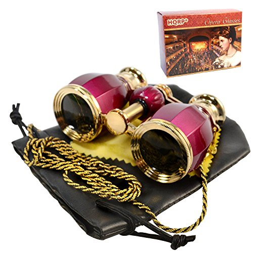 HQRP Opera Glasses Antique Style in Elegant Red Color with Gold Trim w/Crystal Clear Optics (CCO) w/Necklace Chain