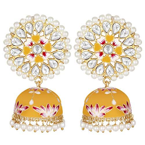 Aheli - Pendientes de perlas de Kundan sintéticas de color esmaltado, hechos a mano