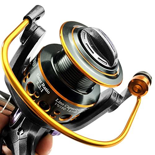 LITOSM Carrete De Pesca Reel de Doble Freno Spinning Reel Carrete de Pesca 3000 4000 5000 6000 Relación Engranaje 5.2: 1 5.0: 1 Roble Carretes De Lanzado (Spool Capacity : 4000 Series)