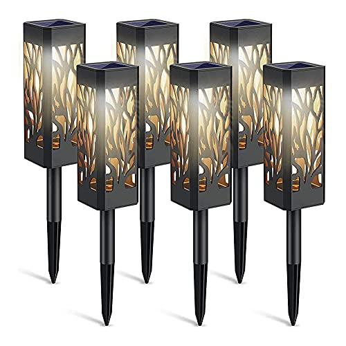 6 Stück LED Solarleuchten Wasserdichte Hohllampe Garten Stakes Licht Lampe Solarlampen für Innenhof Weg Patio Dekoration Landschaftsbeleuchtung