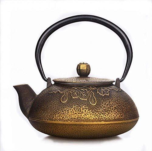 FWQFEW Teiera, teiera Giapponese in ghisa con Motivo a peonia Brillante Senza Tromba Dorata d'oro Acqua bollente per Cucinare Il tè 0,5 l