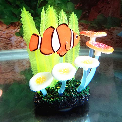 ZJL220 Aquarium Landscaping Crafts Fish Tank Simulation Soft Fern Leaf Clown Fish Ornament Small Landscape
