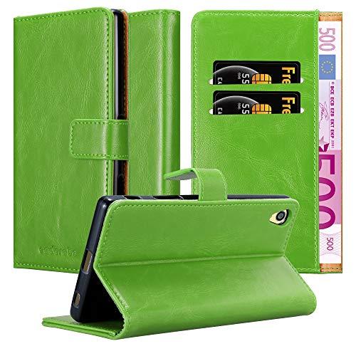 Cadorabo Hülle für Sony Xperia Z5 Premium - Hülle in Gras GRÜN – Handyhülle im Luxury Design mit Kartenfach & Standfunktion - Hülle Cover Schutzhülle Etui Tasche Book