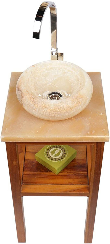 Wohnfreuden Marmor Onyx Waschbecken Asbak Mini 33x12 cm  Creme rund aussen gehmmert  Handwaschbecken