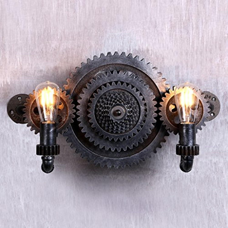 StiefelU LED Wandleuchte nach oben und unten Wandleuchten Double Wandleuchte Wandleuchte gear Loft Bar Cafe zu Road Industrial Air retro Dual Head, E27, warmes Licht