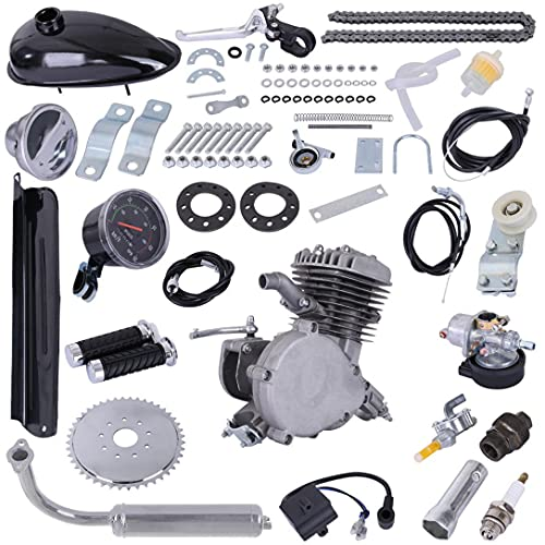 "80CC Bicycle Engine Kit, Motorized Upgrade Bike 2-Stroke Petrol Gas Motor Engine Kit Set, for 26""/28"" Bikes with V-Frame (Black)"