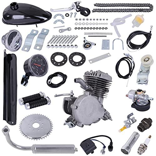 80CC Bicycle Engine Kit, Motorized Upgrade Bike 2-Stroke Petrol Gas Motor Engine Kit Set, for 26'/28' Bikes with V-Frame (Black)