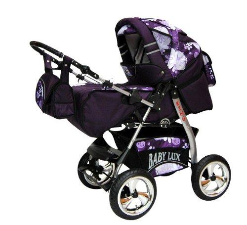 Lux4Kids King Kinderwagen Safety-Set (Autositz & ISOFIX Basis, Regenschutz, Moskitonetz, Getränketablett, Matratze, Wickelunterlage) 56 Purple & Flower