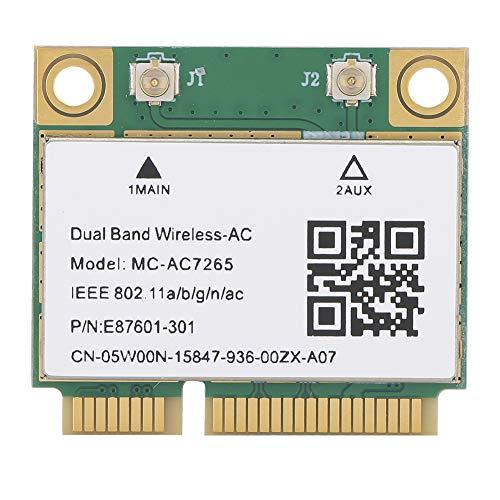 WOUPY Tarjeta De Red Mini Pci-E Gigabit Dual-Band, 2.4 / 5G Wireless WiFi Card, Bluetooth 4.2 Wireless WiFi MC-AC7265 Tarjeta De Red Gigabit, para Equipos De Sobremesa, Portátiles