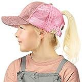 C.C Kids 2-7 Ponytail Messy Buns Ponycaps Baseball Visor Cap Hat Glitter Pink