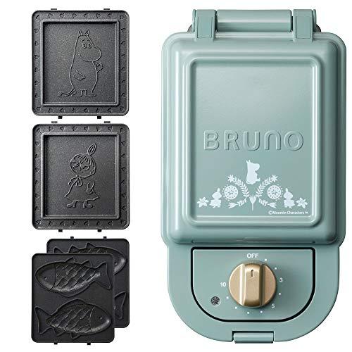 ブルーノ BRUNO ホットサンドメーカー ムーミン 耳まで焼ける 電気 おさかなプレート たい焼き セット シングル ブルーグリーン BOE050-BGR 1700579