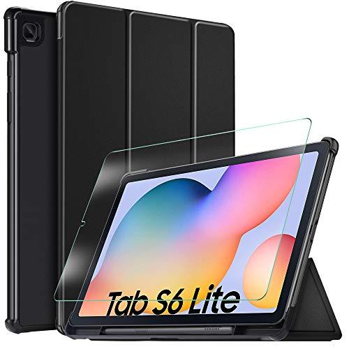 IVSO Coque Etui Housse + Protection écran pour Samsung Galaxy Tab S6 Lite 10.4, Slim Cover Housse de Protection pour Samsung Galaxy Tab S6 Lite 10.4 Pouces, Noir