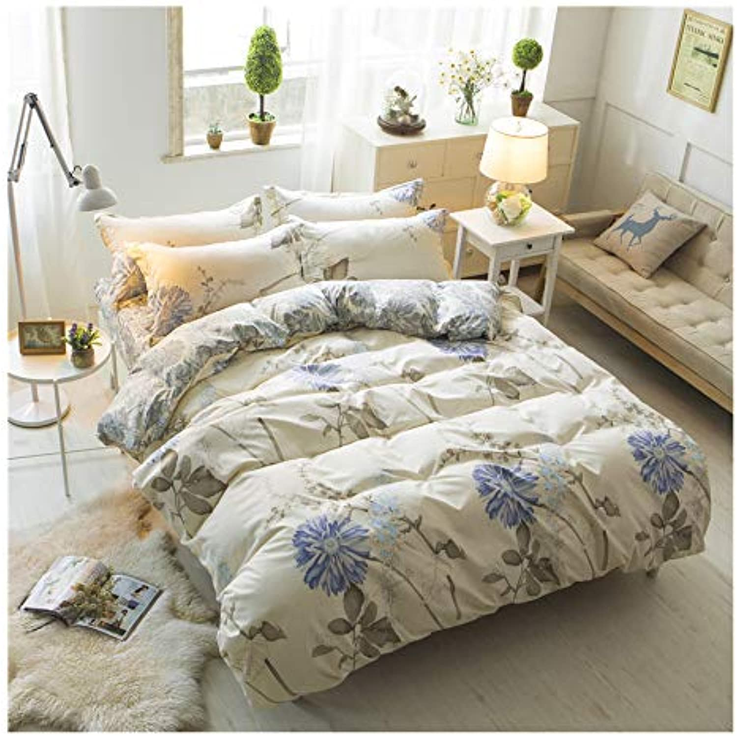 Daisy Printed Bedding Set Floral Duvet Cover Set Twin 3 Pieces Stripes Comforter Cover Flower Soft with 2 Pillow Shams for Women Adult,NO Comforter