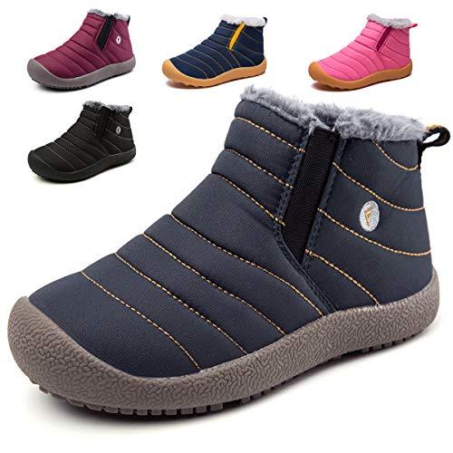 KVbaby Niños Botines Zapatos Botas de Nieve Invierno Fur Calentar Botas Al Aire Libre Boots Anti-Deslizante Zapatos Botas de Trabajo