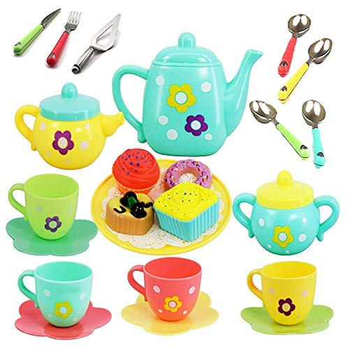 Cable World Plastic Tea Party Pretend Play Kitchen Set with Food Toy for Kids (Assorted Colour)