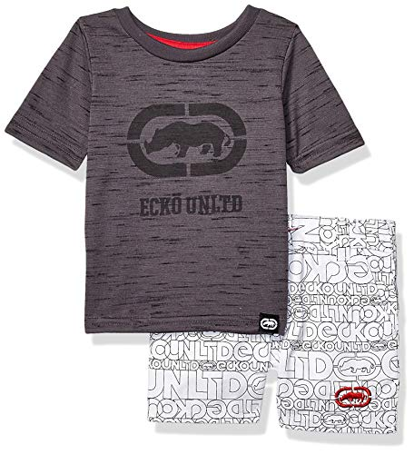 Ecko Baby Boys Sleeve Rhino T-Shirt and Logo Short, Grey, 12M