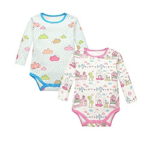 CuteOn 2 pcs Manches longues en Coton Newborn Infant Bébés garçons Fille Bodysuit Romper Gift Set 07 Château 24 Mois
