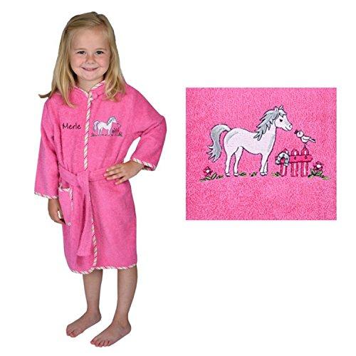 Bademantel mit Namen Pferd pink Größe 98/104