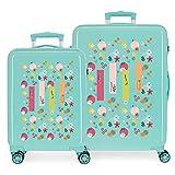 Enso Nature Juego de maletas Verde 55/68 cms Rígida ABS Cierre de combinación lateral 104 6 kgs 4 Ruedas dobles Equipaje de Mano