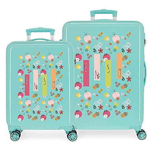 Enso Nature - Set di valigie verdi da 55/68 cm rigide ABS, chiusura a combinazione laterale, 104 6 kg, 4 ruote doppie per bagaglio a mano