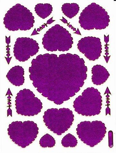 Coeur Amour Love Violet Autocollants 23 pièces 1 feuilles 135 mm x 100 mm Stickers bricolage enfants PARTY métallique