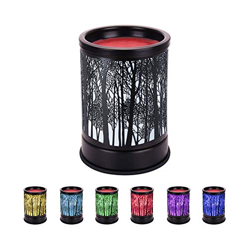COKI Electric Candle Warmer, Black Metal Forest Tart Burner with 7 Color Changing Night Light, Wax Melt Warmer for Home Office Bedroom, Aroma Decorative Lamp for Gifts & Decor