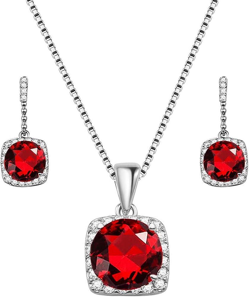Lavencious Diamond Shape Solitaire CZ Stone Pendant Necklace and Earring sets for women