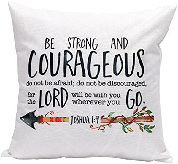 Dolphineshow Unique Pillow Shams Printed Cotton Linen BE Strong And Courageous Pattern Sofa Decor Throw Pillow Cases Cushion Cover 18x18