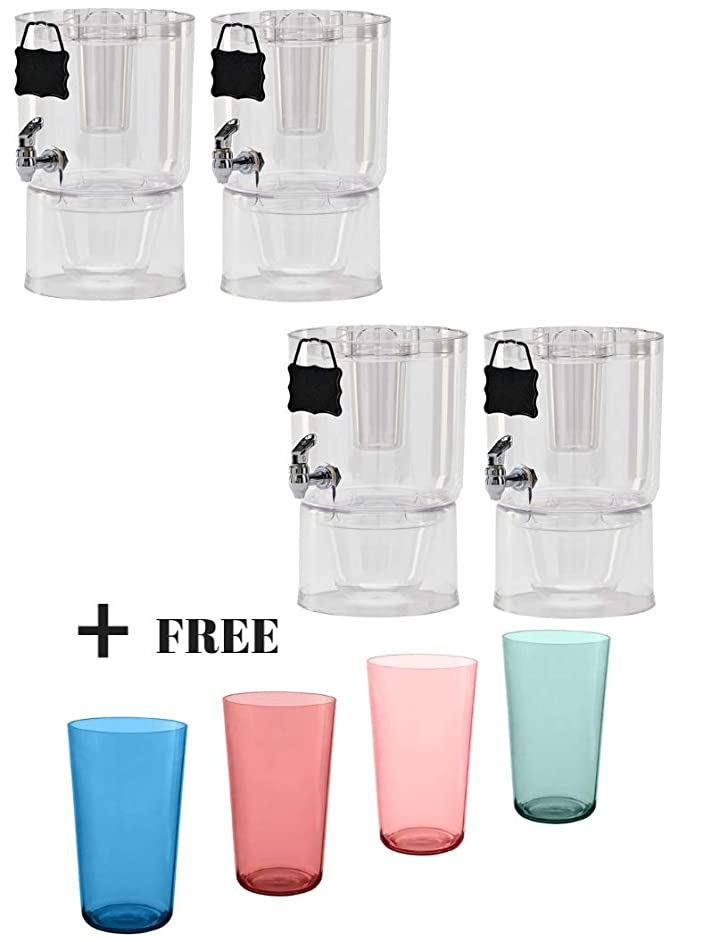 Buddeez Pary Top Beverage Dispensers, 1.75 Gallon (4-Counts + Freebies, Clear)