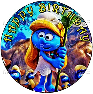 7.5 Inch Edible Cake Toppers – The Smurfs Smurfette Party Themed Birthday Party Collection of Edible Cake Decorations