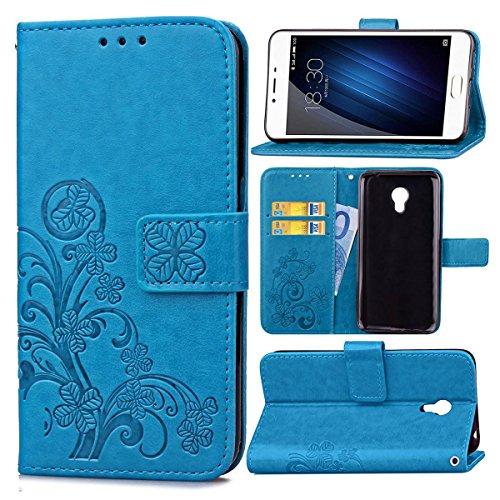 Funda Para Meizu M3S , pinlu® Alta Calidad Función de plegado Flip Wallet Case Cover Carcasa Piel PU Billetera Soporte Con Trébol de la suerte Azul