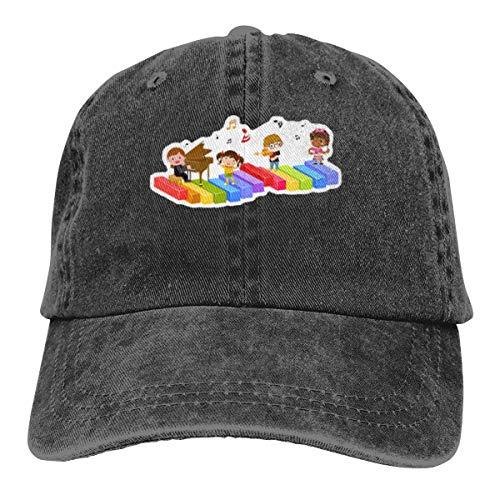 REAL PEAZ Gorra de béisbol de algodón lavado, color sólido, ajustable, grupo de niños y música, gorra de béisbol ajustable