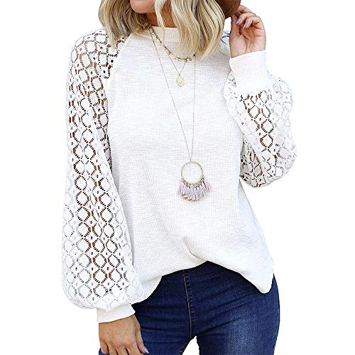 Camisa de Manga Larga de Encaje Elegante para Mujer Blusa Holgada Informal con Cuello Redondo (Blanco, L)