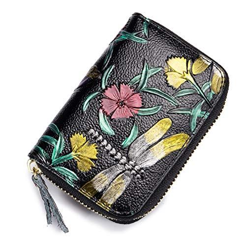 Brillianceco RFID Tarjetero para Tarjetas de Crédito para Mujer Cuero Carteras Monederos Diseño Flor de Rosa Estilo Acordeón (Libélula)
