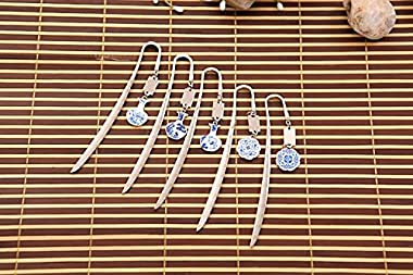 Handmade Metal Bookmark Gift Box Set, Bookmark with Blue and White Porcelain Pendant Gift for Christmas