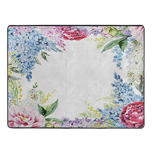 Flower Print Area Rug Springtime Fragrance Garland with Bunch of Flowers Lilac Lavender Rose Peony Artsy Print Rugs for Bedroom Living Room 3.3' x 5.25' Multi