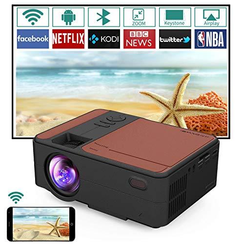 Mini proyector WiFi porttil con Bluetooth, proyector inalmbrico de 3650 lmenes, altavoz integrado, compatible con PS4, iPhone, Android, disfraz de ordenador porttil para cine en casa, juegos
