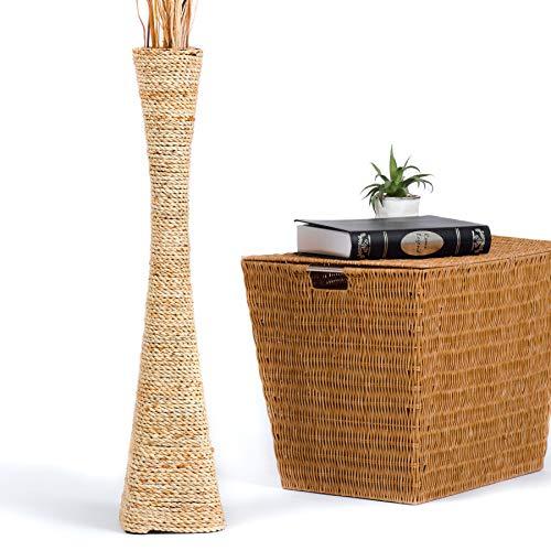 Leewadee jarrón Grande para el Suelo – Florero Alto y Hecho a Mano de bambú y Rafia, Recipiente de pie para Ramas Decorativas, 75 cm, Color Natural