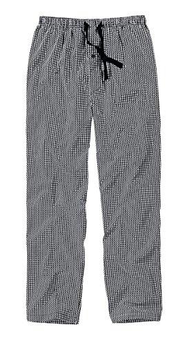 Götzburg Herren Lange-Hose, Schlafhose, Pyjama-Hose - Baumwolle, Popeline, schwarz, kariert, mit Eingriff M