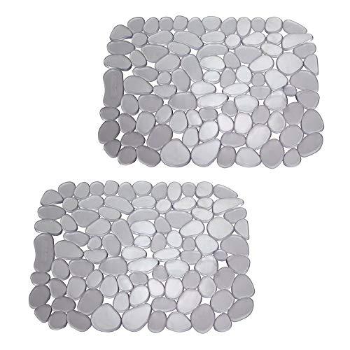 mDesign 2er-Set Spülbeckenmatte aus PVC – auch als Abtropfmatte nutzbar – zuschneidbare Schutzmatte gegen Kratzer im Spülbecken – mit Kieselstein-Muster – graphitgrau