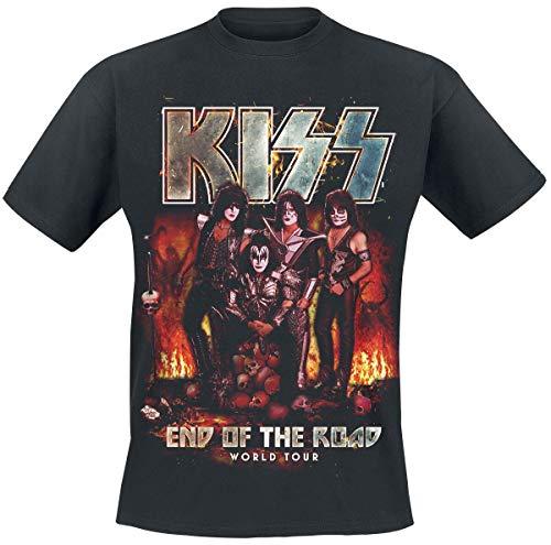 Kiss End of The Road Hell Skulls Männer T-Shirt schwarz L 100% Baumwolle Band-Merch, Bands, Totenköpfe