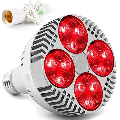 PDGROW Red Light Therapy Lamp with Socket,48W 24 LED Deep Red Light Therapy Bulb Heat Device,660/670 Nanometer Red & Near Infrared Light 850nm for Face Skin, Body Pain Relief,Feet Muscle Recovery