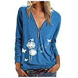 Camiseta sexy para mujer, verano, elegante, de manga larga, con estampado de diente de león, para primavera, cuello en V 2 - azul. XL