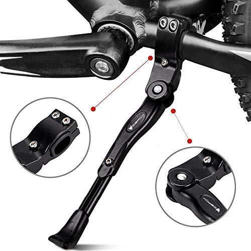icefox Unisex-Adult Fahrradständer, Seitenständer Faltbarer Einstellbarer Universal Ständer mit Anti-Rutsch Gummifuß Aluminiunlegierung für Mountainbike, Rennrad, Fahrräder und Klapprad, Black, 1