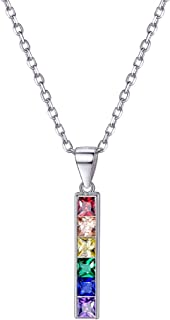 925 Sterling Silver Dainty LGBT Pride Bar Charm, Stainless Steel Rainbow Lesbian Gay Bar/Dog Tag Necklace with Gift Box